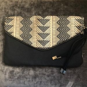Express Clutch Back and Cream Indian weave pattern